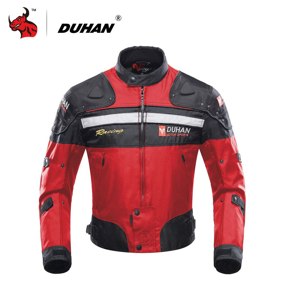 DUHAN Motorcycle Jackets Motorbike Windproof Racing Jacket Body Armor Protective Moto Winter Motor Jacket Red