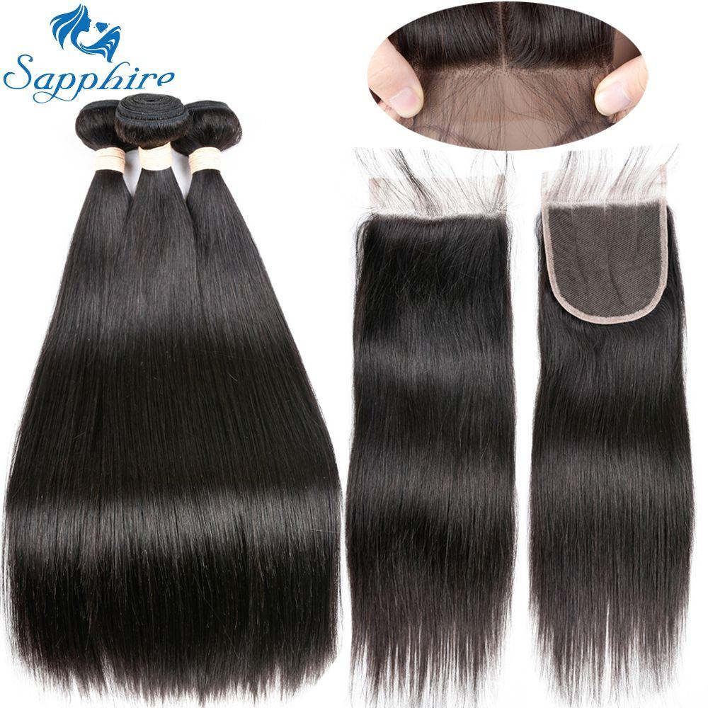 Sapphire Unprocessed Brazilian Straight Human Hair 3 Bundles With Closure Brazilian Human Hair With Lace Closure For Hair Salon