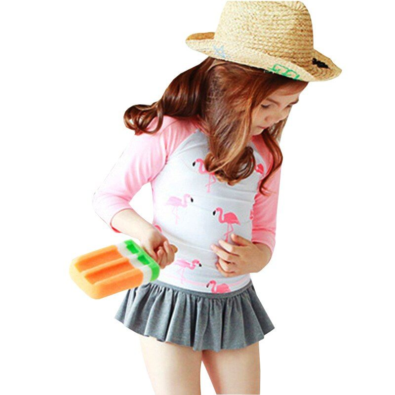 GI FÜR IMMER Kinder Zwei Stücke Anzug Mit Kappe Mädchen Langarm Badeanzug 2018 Netten Flamingo Umsäumte Badebekleidung Badeanzug