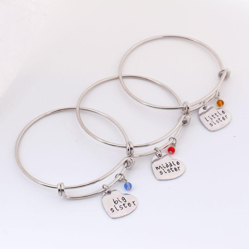 Big Sister,Middle Sister,Little Sister Bracelet Set,Sisters Charm Bracelet Set,Crystals Heart Bangles Sets,Gifts for Christmas