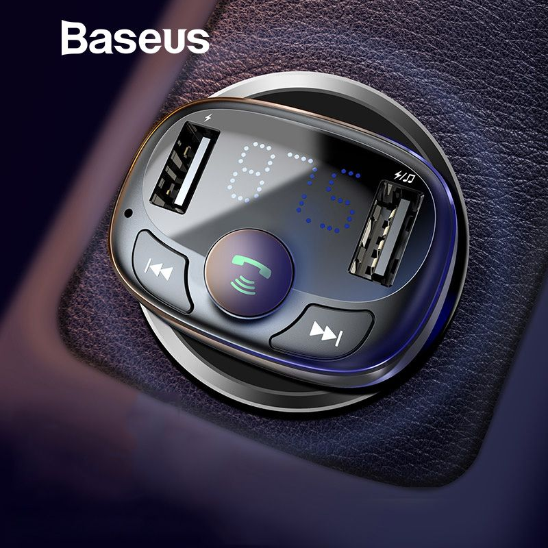 Baseus Car Charger for iPhone Mobile Phone Handsfree FM Transmitter Bluetooth Car Kit LCD MP3 Player Dual USB Car Phone Charger