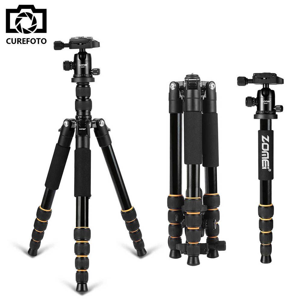Hot Zomei Q666 Professional Tripod For DSLR Camera Ball <font><b>Head</b></font> Monopod Tripod Compact Travel Camera Stand for Canon Nikon Sony SLR