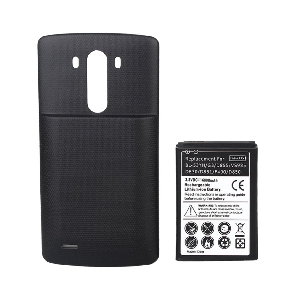 3.8V 6800mAh BL-53YH Rechargeable Replacement Bateria + Black Back Cover Case For LG G3 D855 VS985 D830 D851 F400 D850 Battery