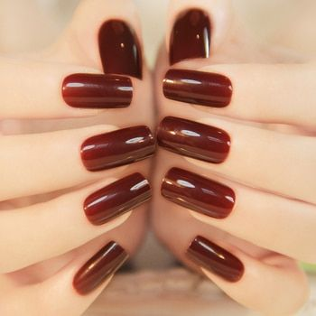 Hot Selling 24PCS French High Light Texture Color Full Cover Nails Tips Special Brown Red Long Square False Nails