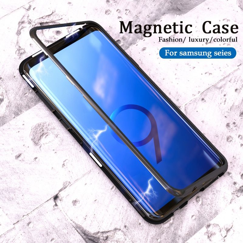 360 Magnetic Case on the for samsung Galaxy s10 s9 s8 plus s10E Glass Back Cover Magnet Adsorption sansun s 8 9 10 e Filp coque