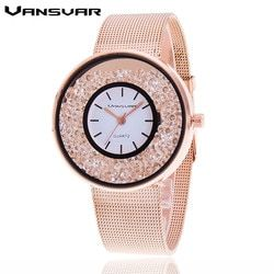 Hot Sale Fashion Stainless Steel Rose Gold & Silver Band Jam Kuarsa Wanita Mewah Jam Tangan Berlian Imitasi Hadiah Valentine