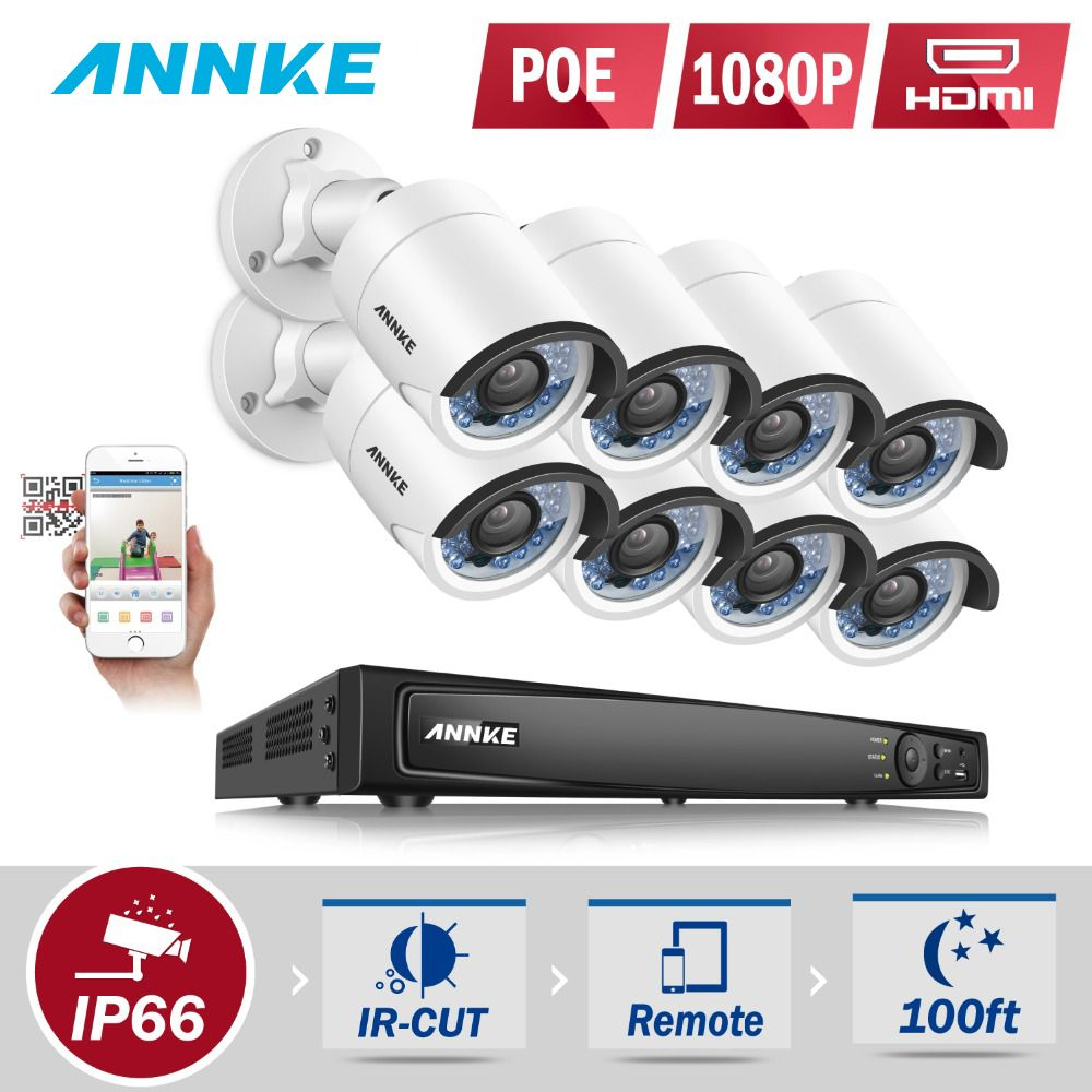 ANNKE HD 6MP 8CH POE NVR 8pcs Super HD 4MP IP Camera Network Outdoor Infrared Night Vision CCTV Home Security Cam System Onvif