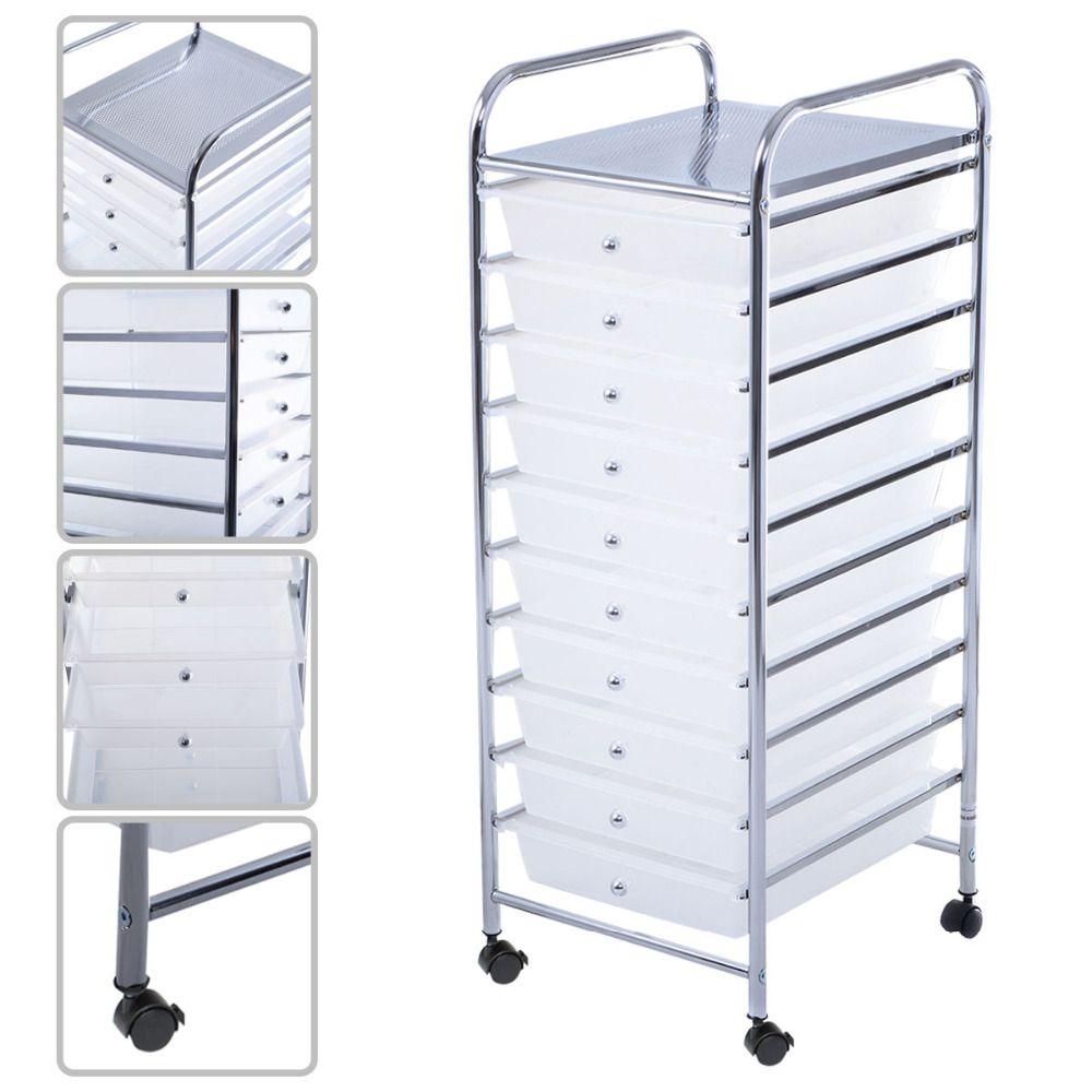 10 Drawer Rolling Storage Cart Scrapbook Paper Office School Organizer Clear HW52045CLEAR