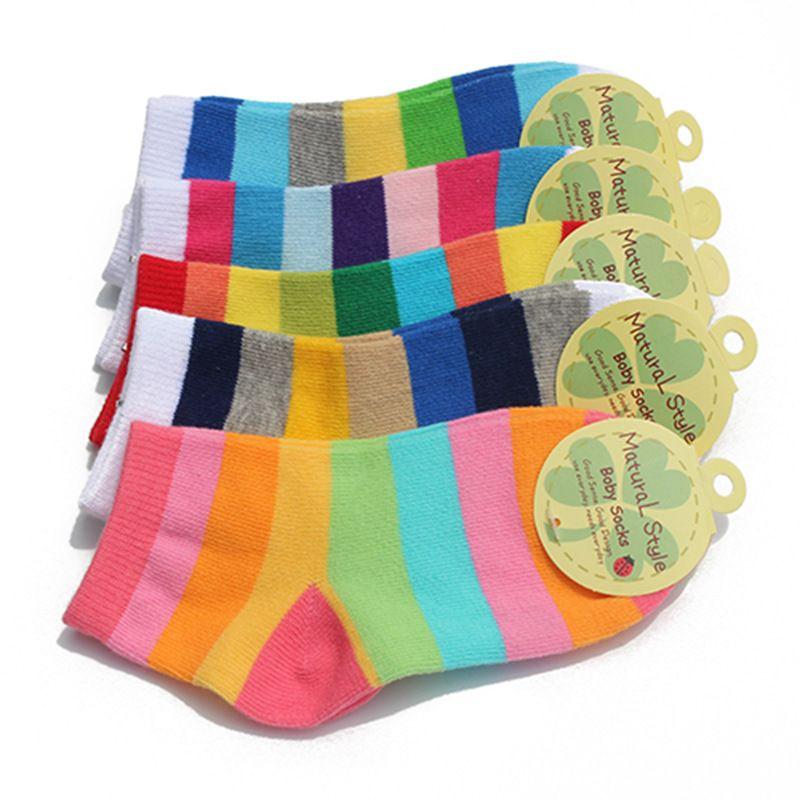 5 пар в партии модные Носки для малышей мальчиков и девочек в радужную полоску хлопковые носки дети в трубке Носки для девочек Детские носки ...