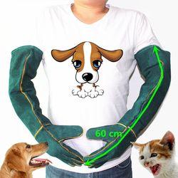 Anti-Gigitan Keselamatan Gigitan Sarung Tangan untuk Menangkap Anjing, Kucing Reptil, hewan Ultra Panjang Kulit Hijau Hewan Peliharaan Menggenggam Menggigit Sarung Tangan Pelindung