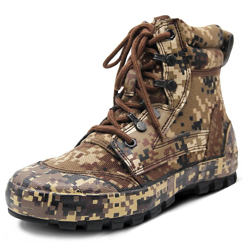 Men Outdoor Camouflage Boots Training Shoes Combat Desert Tactical Boots Camouflage Shoes Hiking Camping Shoes Climbing Shoes
