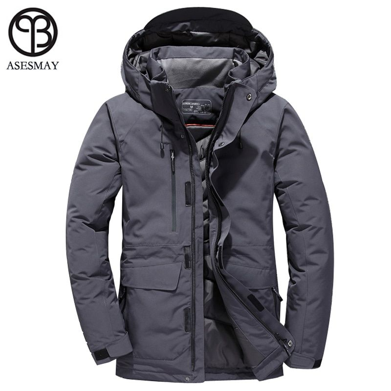 Asesmay 2018 men down jacket men's brand clothing winter coats thickening hoodies parka high quality snow outcoat male jackets