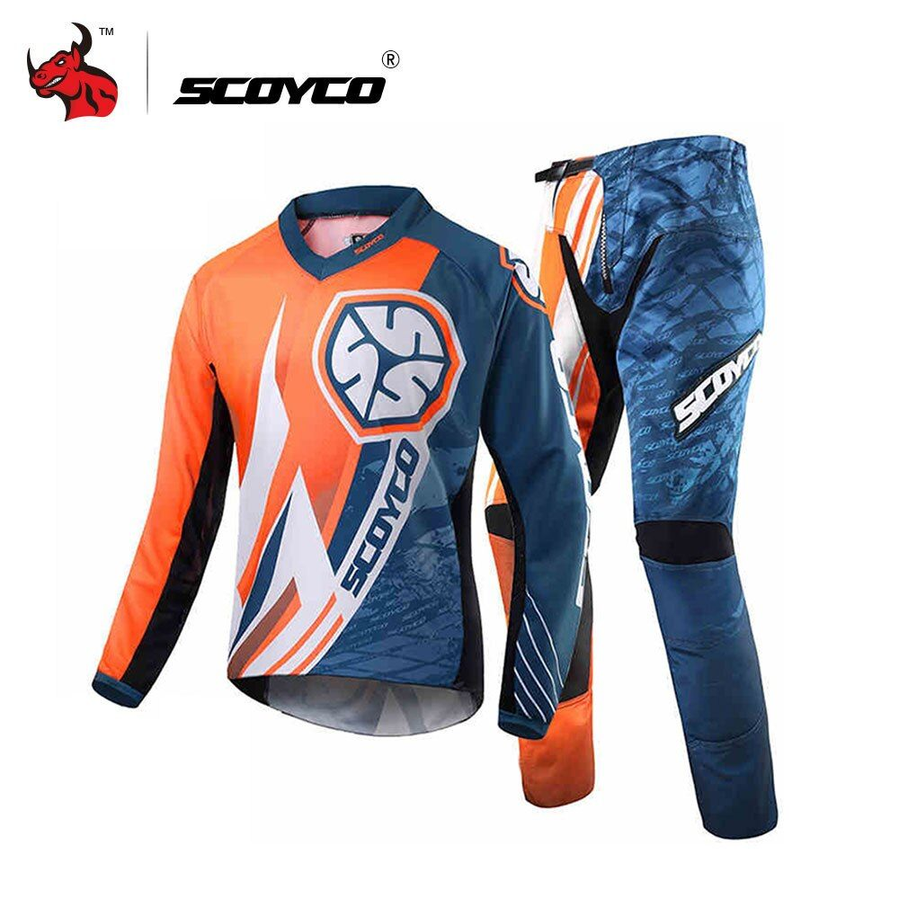 SCOYCO Professional Motorcycle Racing Jersey+Hip Pads Set Motocross Off-Road Dirt Bike MTB DH MX Clothing