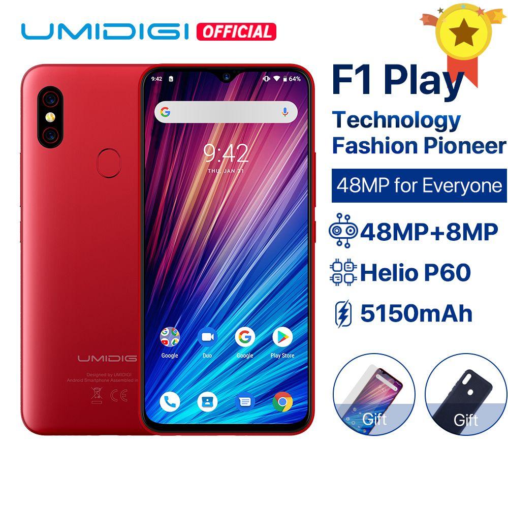 UMIDIGI F1 Play Android 9.0 48MP+8MP+16MP Cameras 5150mAh 6GB RAM 64GB ROM 6.3 FHD+ Helio P60 Global Version Smartphone Dual 4G