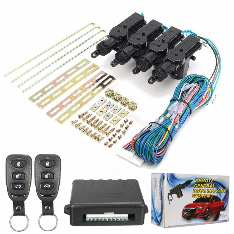 433.92MHz 1 Set 4 Door Remote Control Keyless Entry Central Lock Locking Kit + Car Alarm + Ribbon Kit + Central Motor