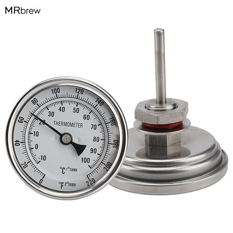 Weldless Bi-metal Thermometer Kit, 3Face & 2Probe, 1/2MNPT, 0~220F <font><b>degree</b></font>, Beer Brewing Thermometer, Homebrew Kettle