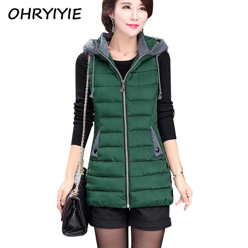 OHRYIYIE Autumn Winter Vest Women Waistcoat 2018 Female Sleeveless Jacket Hooded Warm Long Vest colete feminino Plus Size 5XL