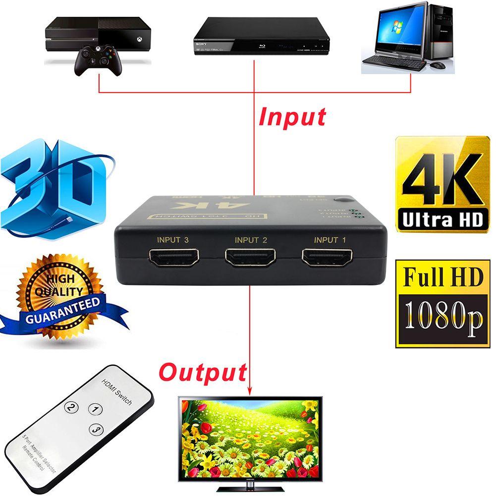 Ultra HD 4 K 2 K HDMI Switcher 3x1 Sélecteur D'affichage avec Télécommande contrôleur HDMI Adaptateur Commutateur Splitter Box pour HDTV DVD pour Xbox