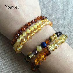 Yoowei Ambre Naturel Bracelet/Cheville pour le Cadeau Femmes Bracelet Ambre Baltique 4mm Petites Perles Bébé de Dentition Bijoux Personnalisés en gros