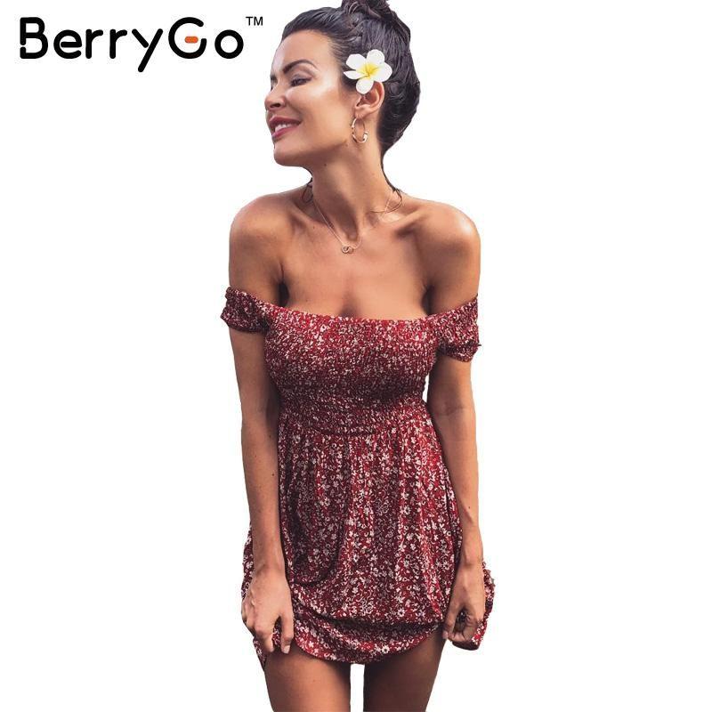 BerryGo Sexy off shoulder print summer dress Vintage high waist beach dress 2016 Elegant fit and flare short girls dresses women