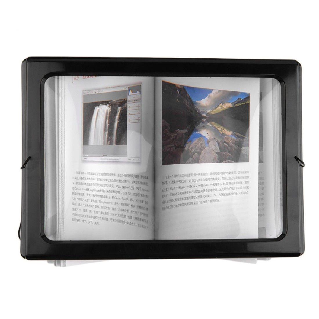 1pc A4 pleine Page grand 3X bureau mains libres géant loupe pliable pour la lecture couture tricot avec 4 lumière LED