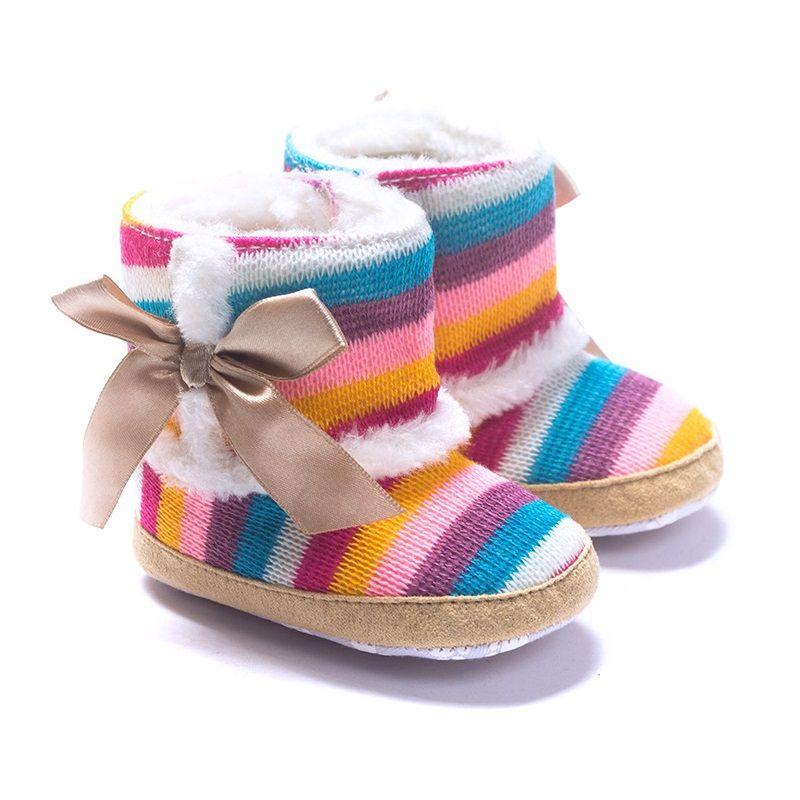 Для маленьких девочек Сапоги и ботинки для девочек обуви шерсть зимние Bebe Обувь коралловый флис для первых шагов Anti-Slip Радуга 11-13 см детские ...