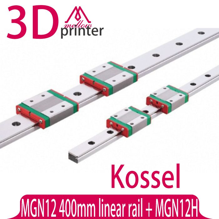 3D printer part Kossel Mini for 12mm Linear Guide MGN12 L 400mm linear rail + MGN12H Long linear carriage for CNC X Y Z Axis