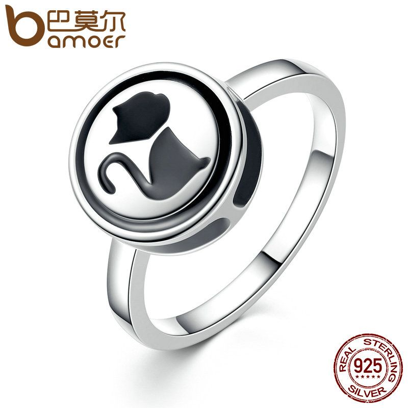 BAMOER Vintage 925 Sterling Silver Small Black Cat Lovely Animal Finger Ring 3 Size Women Fashion DIY Jewelry SCR011