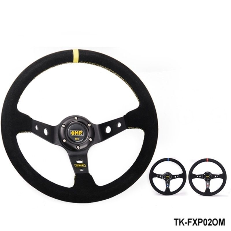 TANSKY -Modified steering wheel Suede leather steering wheel automobile race steering wheel  TK-FXP02OM