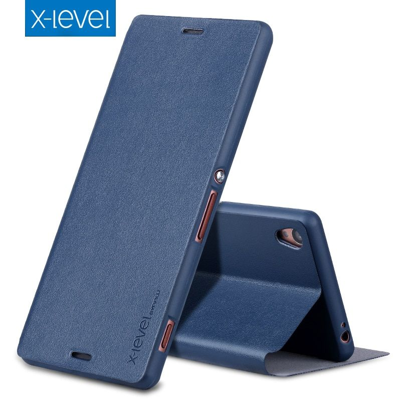 X-Level PU Leather Case For Sony Xperia Z3 D6603 D6653 Luxury Stand Cover For coque Z3 D6633 D6643 Business Style Flip Case Z3V