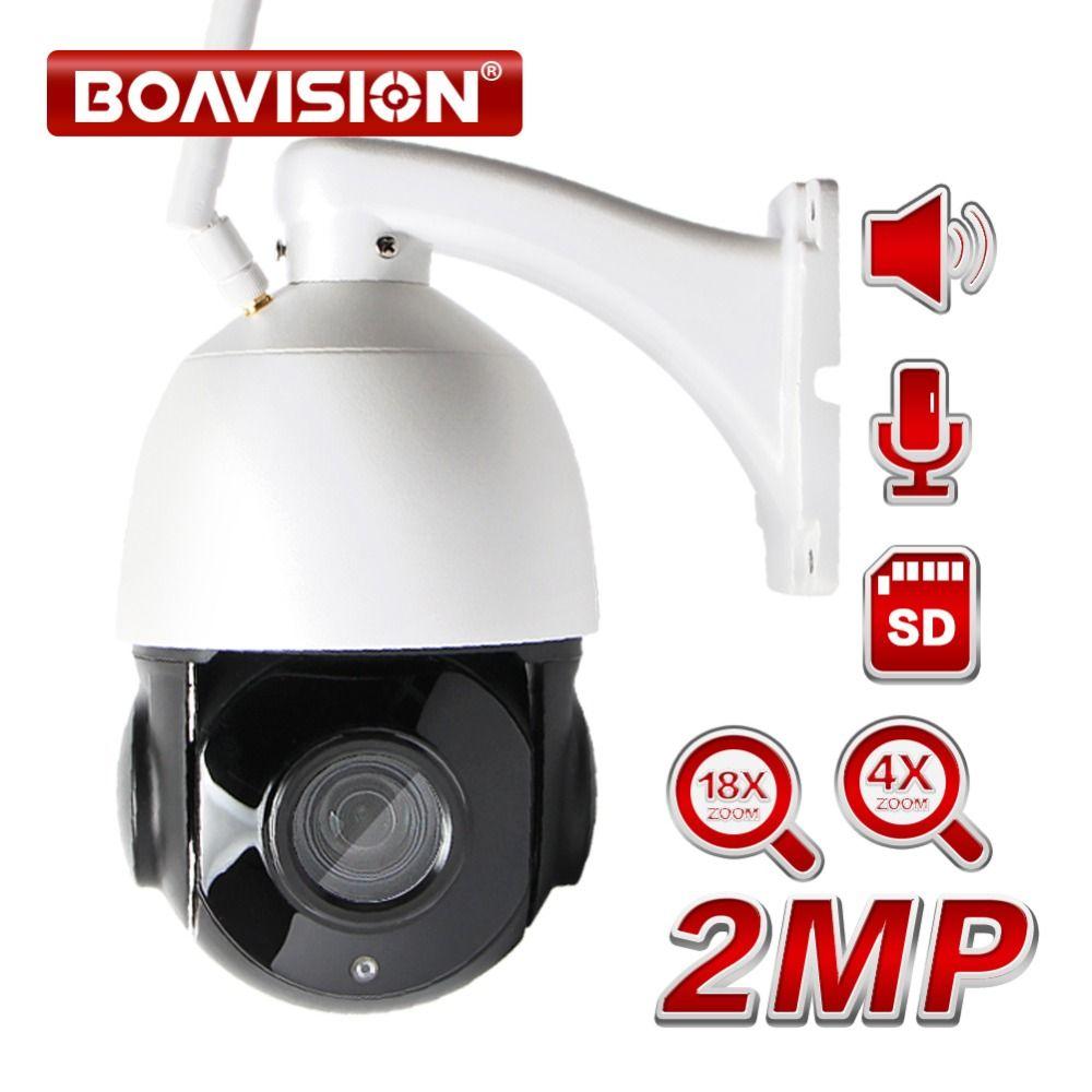 Wireless PTZ Speed Dome 1080P IP Wifi Camera Outdoor 4x 18x Zoom,Speaker SD Card, CCTV Security Video Network Camera Audio Talk