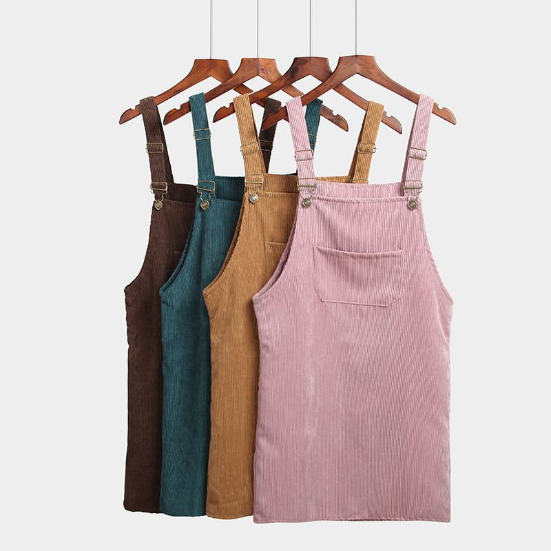 Spring Autumn Dress Women Korean Fashion Vintage Sundress College Wind Corduroy Loose Strap Vestidos Female Midi Dresses 7 Color