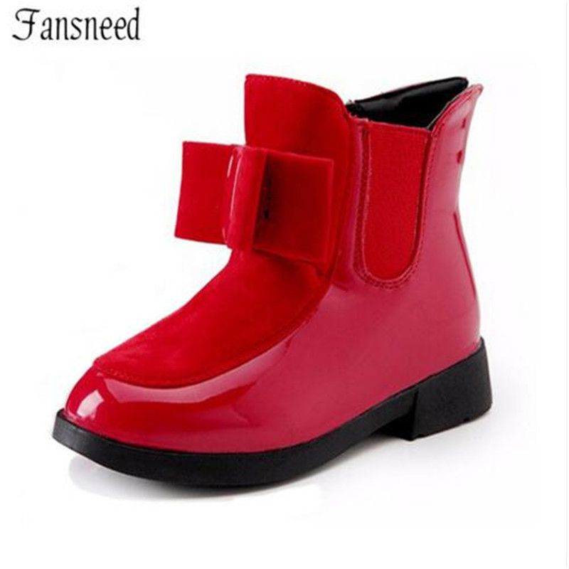 2017autumn and winter boots children's shoes girls bow in the <font><b>wind</b></font> with mid-top of the British carved boots