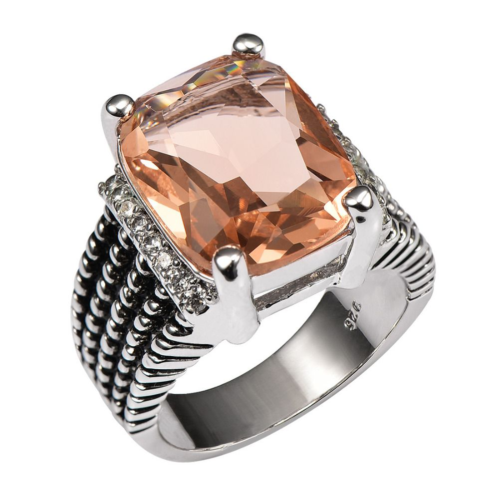 Huge Morganite With Multi White Crystal Zircon 925 Sterling Silver Ring For Women and Men Size 6 7 8 9 10 11 F1512