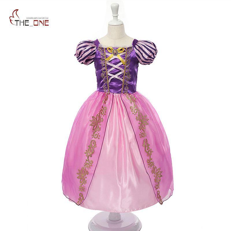 MUABABY Filles Rapunzel Habiller Enfants Neige Blanche Princesse Costume Enfants Cendrillon Aurora Sofia Fête D'halloween Cosplay Robe