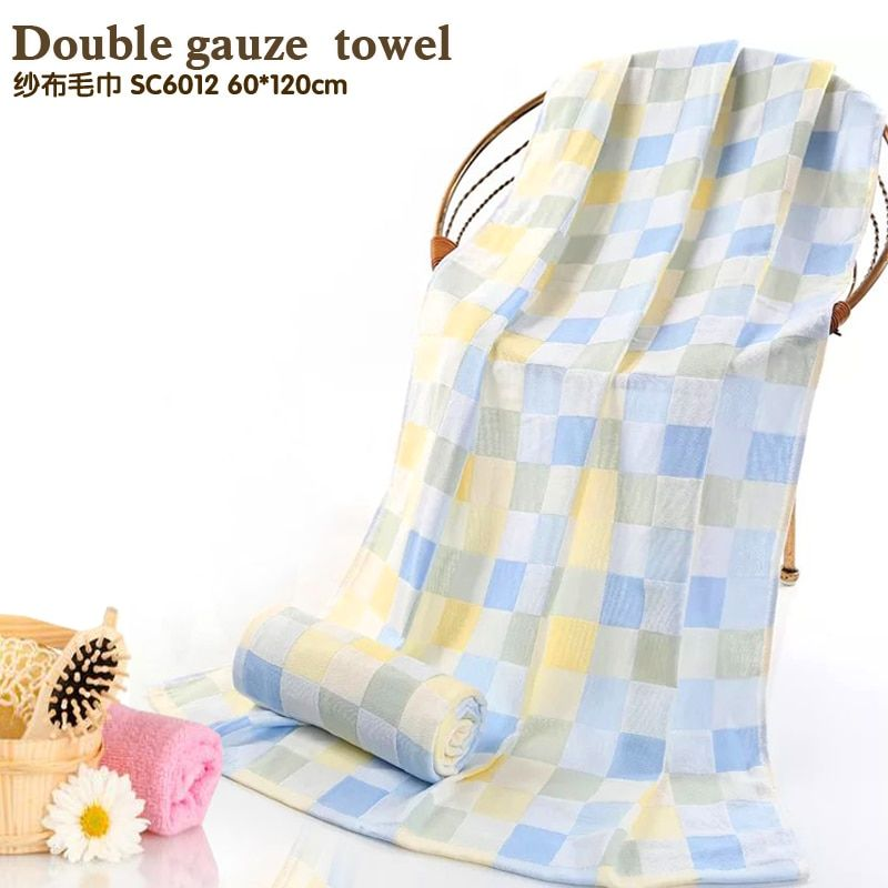 Rectángulo toalla Comprobado Varias especificaciones de Doble capa de gasa, celosía de color serie toalla de algodón fino, fácil de llevar toalla
