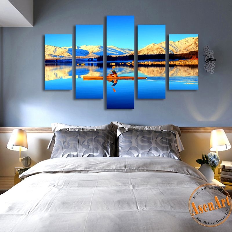 5 PCS Modern Printed Sunrise Painting Blue Lake Canvas Painting HD Landscape Painting for Living Room Wall Art Picture No Frame