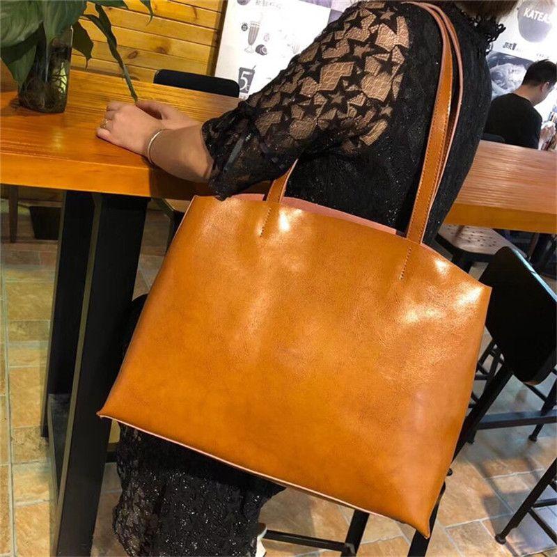 Bolsos de cuero bolso de las mujeres grandes de la alta calidad Bolsos femeninos ocasionales tronco Tote grandes Bolsos Leat