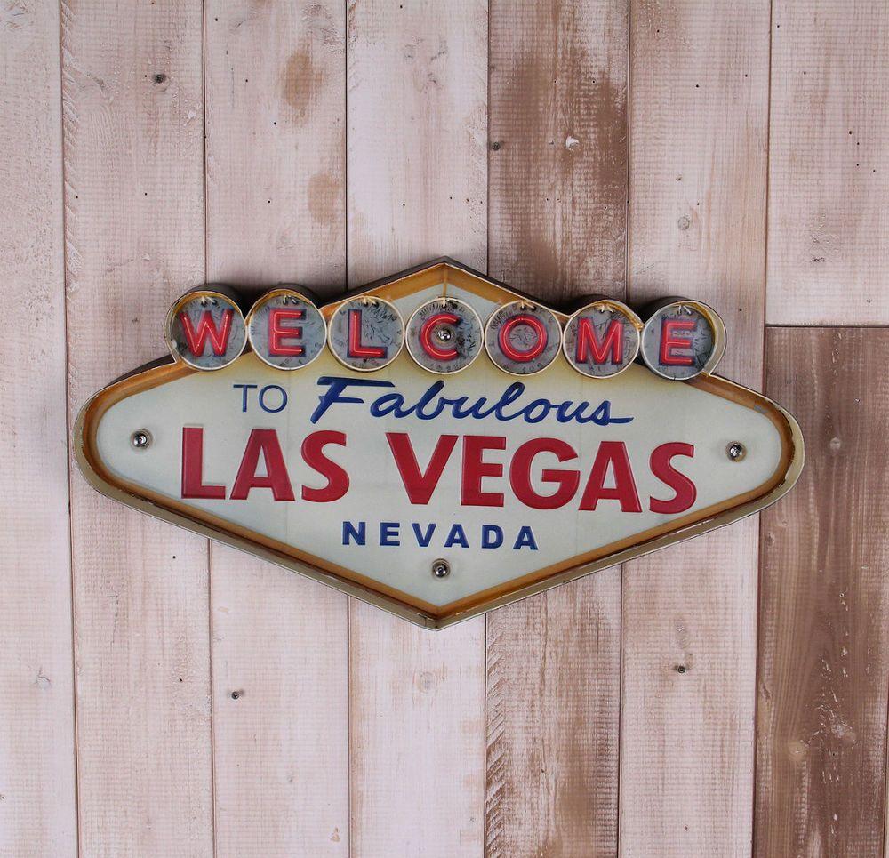 Enseigne au néon peinture décorative style Las Vegas décoration murale en fer forgé illuminé signe de bienvenue suspendus LED signes en métal