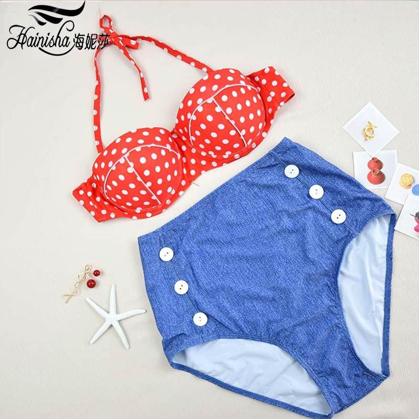 Halter Bikini-badeanzug Frauen Push Up Hohe Taille Bandage Biquini Bademode 2018 Neue Brasilianische Bikinis Beachwear Beize Anzug XL