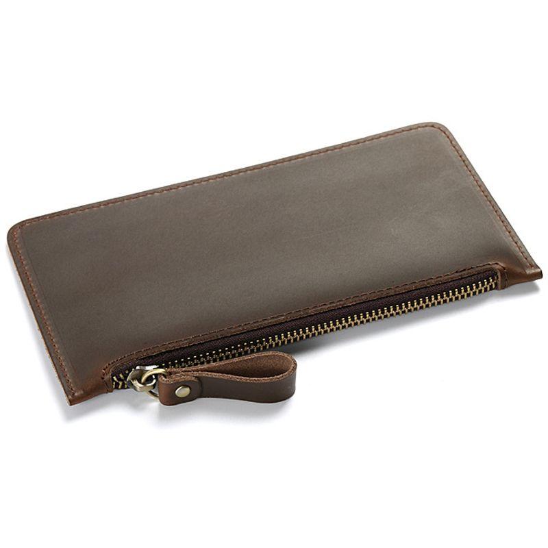 Leather Zipper Purse Wallets Men Organizer Wallet With Handwrist