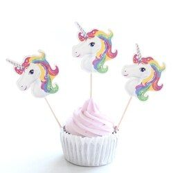 24pcs/lot Unicorn Party Cupcake Topper Happy Birthday Party Baby Shower Children Party Decor Kids Cake Decor Supplies