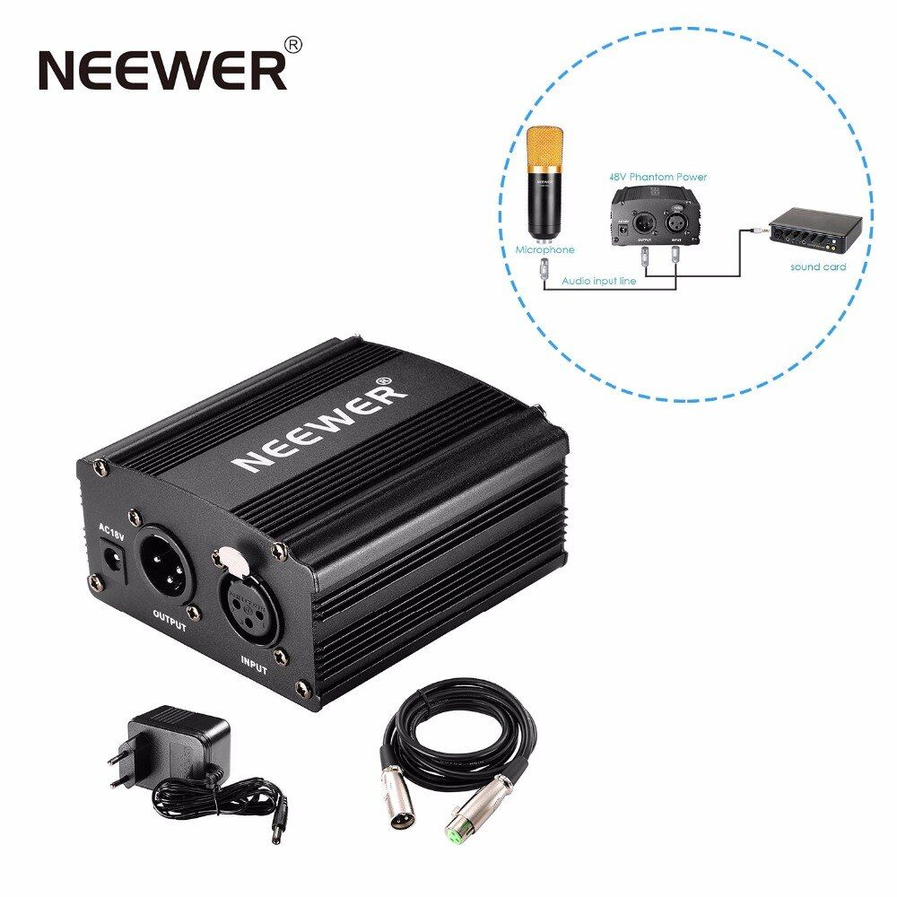 Neewer 1- <font><b>Channel</b></font> 48V Phantom Power Supply Black Adapter One XLR Audio Cable for Condenser Microphone Music Recording Equipment
