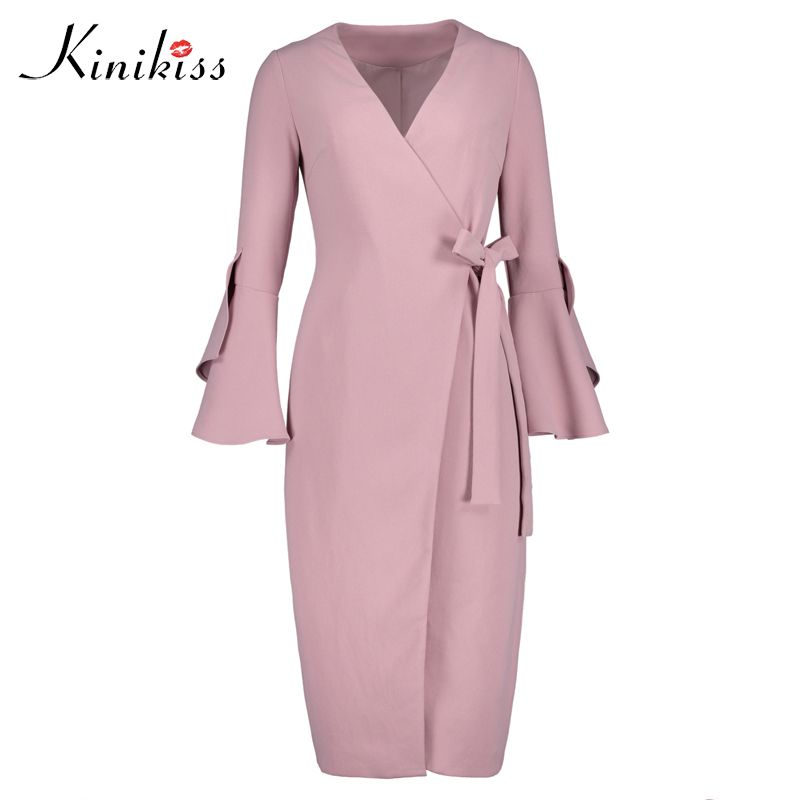 Kinikiss 2017 Winter Trench Coat Women Wide Lace-up Woven Flare Sleeve Oversize Long Pink Trench Coat Outwear OverCoat Women