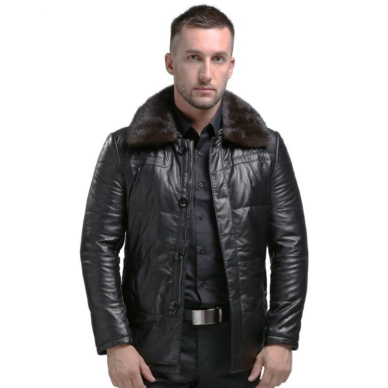 AIBIANOCEL 2017 Winter Genuine Leather Coat Men Thick Down Leather Coat Mink Collar Detachable Mens Leather Jacket White Duck