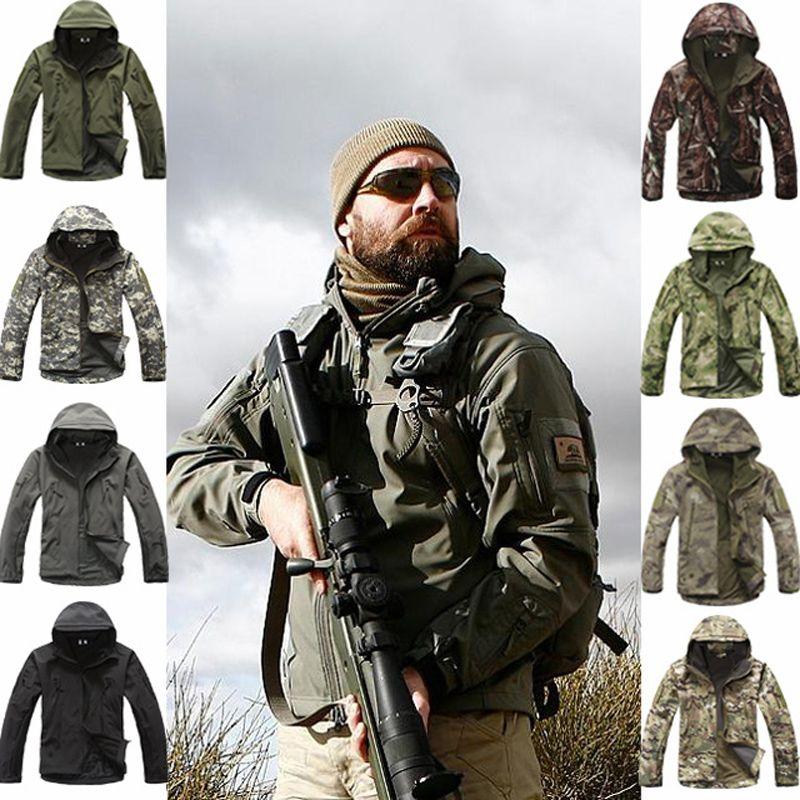 Sport en plein air Softshell TAD Veste Tactique Ensembles Hommes de Camouflage Vêtements de Chasse Militaire Manteaux Camping Randonnée Veste À Capuche