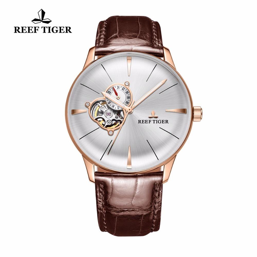2017 riff Tiger/RT Luxus Casual Uhren für Männer Rose Gold Tourbillon Konvexen Objektiv Uhren Echtes Leder Strap RGA8239