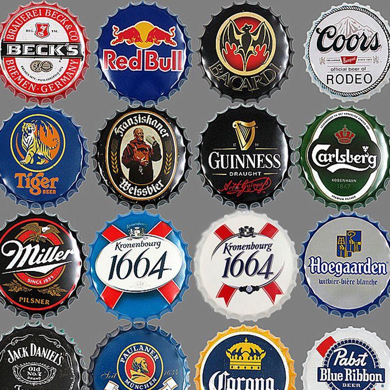 Creative rétro bouchon de bouteille de bière décoratif en métal 35cm étain signe Bar Pub maison mur décor rétro métal Art affiches offre spéciale