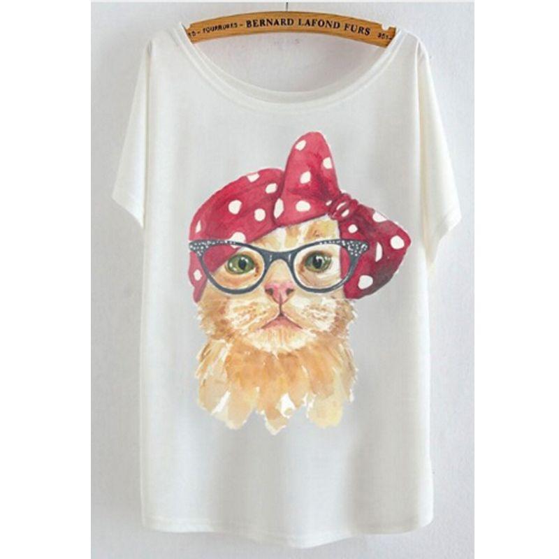 2017 newest batwing sleeve t shirt cotton t-shirt Women big size t shirt Cat/Rabbit/Perfume bottles
