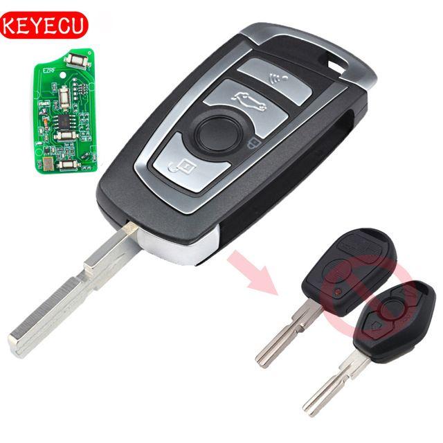 Keyecu EWS Modified Flip Remote Key 4 Button 315MHz/433MHz PCF7935AA ID44 Chip for BMW E38 E39 E46 M5 X3 X5 Z3 Z4 HU58